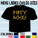 50 FIFTY ROCKS BIRTHDAY T-SHIRT ALL SIZES & COLOURS